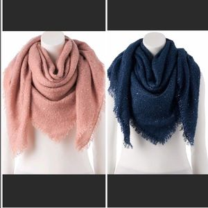 LC Lauren Conrad Shine Boucle Square Blanket Scarf